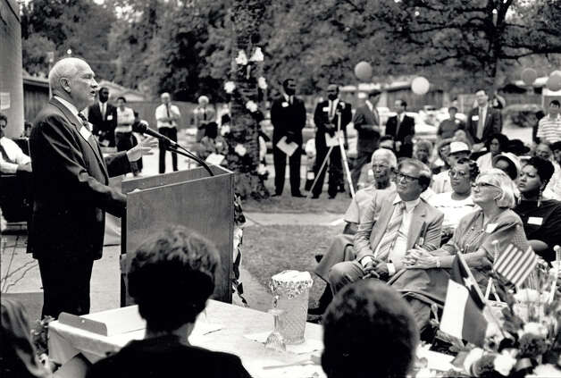 Jack Brooks addresses the crowd during the 50th anniversary of the Housing Authority in Beaumont in 1992.   Enterprise file photo