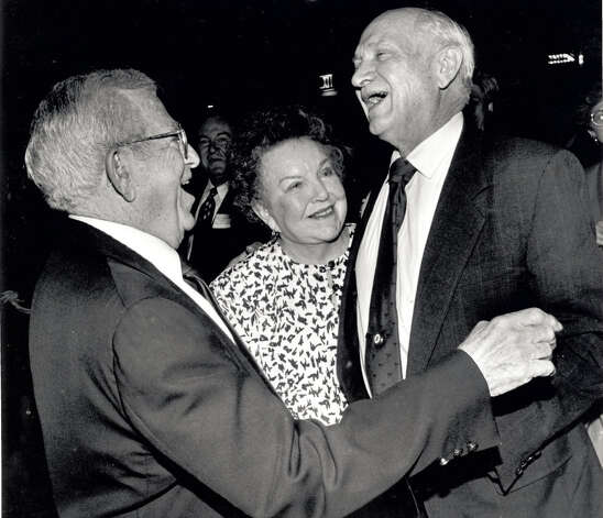 Joyce Ippolito and HIs wife Joyce congratulate Jack Brooks at a Holiday Inn Party in Beaumont in 1992 Enterprise file photo
