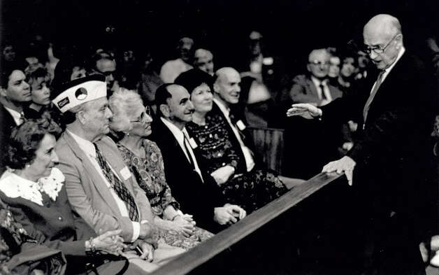 Jack Brooks addresses recipients and their families who received a Pearl Harbor Commemorative Medal at the Jack Brooks Federal Building in 1992. Enterprise file photo