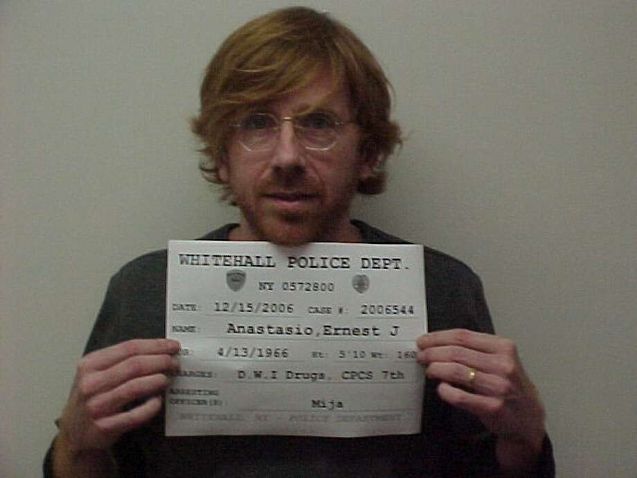Whitehall Police Dept. Former Phish front man Trey Anastasio -  On 12/15/2006 at approximately 3:30am, Ernest J. Anastasio, was stopped for Failing to Keep Right. Subject was observed to be under the Influence of a Narcotic Substance after failing Field Testing. Anastasio was also found to have a Suspended Driver's License in the State of New York. Anastasio was also found to be in possession of an assorted amount of Prescription Medications, Hydrocodone, Percocet, and Xanax, being prescribed to another person. Anastasio was charged with Aggravated Unlicensed Operation 3rd, Criminal Possession of a Controlled Substance 7th, and DWI - Drugs.