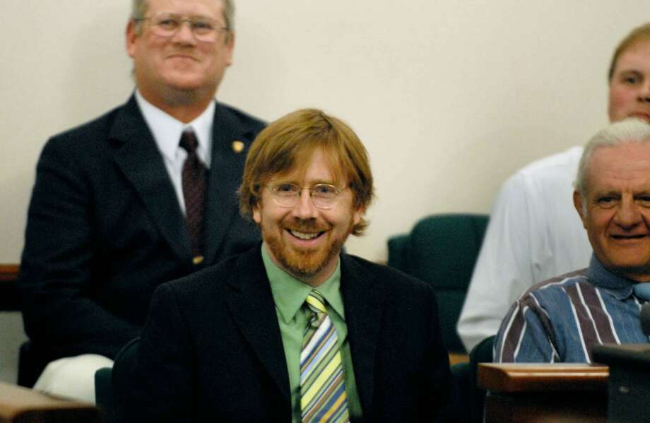 Times Union Staff Photo -- Michael P. Farrell-- 6/18/2008 -- FORT EDWARD , New York -- Former Phish frontman, Trey Anastasio, center, enjoys a moment of levity with fellow Drug Court graduates, during his Wasington County Drug Court graduation. (Albany Times Union)