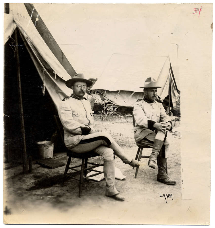 "Theodore Roosevelt - Before becoming Vice President and eventually President, Roosevelt came to San Antonio in 1898 to train with the U.S. 1st Volunteer Cavalry, the ""Rough Riders"" who won fame during the battle on San Juan Hill in the Spanish American War. Ernst Raba of San Antonio took this photo of Lt. Col. Theodore Roosevelt (left) and Col. Leonard Wood three months before the charge up San Juan Hill in Cuba. Photo: File Photo"