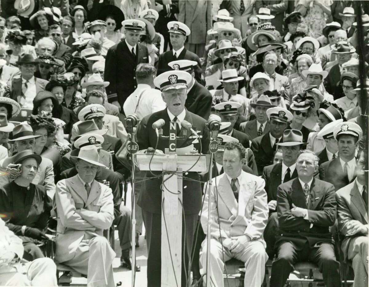 Chester Nimitz - Nimitz took command of the U.S. Pacific Fleet after the bombing of Pearl Harbor. Nimitz was born in Fredericksburg.. Here Nimitz speaks at the San Jacinto Battleground, April 21, 1948. Chronicle file