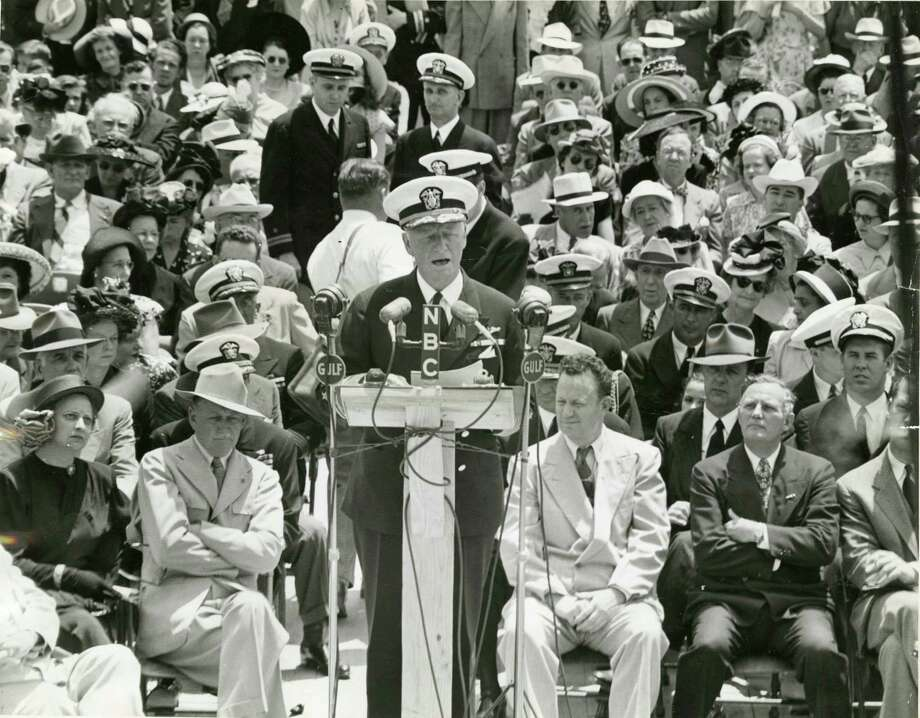 Chester Nimitz – Nimitz took command of the U.S. Pacific Fleet after the bombing of Pearl Harbor. Nimitz was born in Fredericksburg..  Here Nimitz speaks at the San Jacinto Battleground, April 21, 1948.