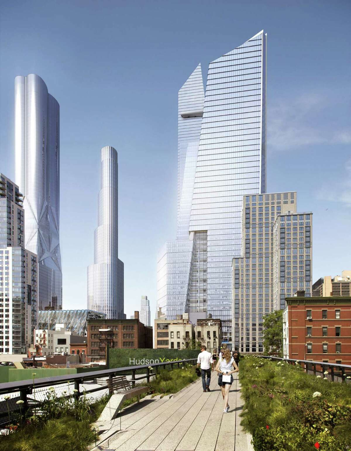 In this artist rendering created by Visualhouse and released by Hudson Yards, shows the base of the developmentÃ'Â's south office tower as it would be viewed from the Highline. With the ceremonial groundbreaking on Tuesday, Dec. 4, 2012, the transformation of the largest undeveloped property in Manhattan from a railroad storage yard into a sleek new neighborhood of spiky high-rises and graceful parks has begun.