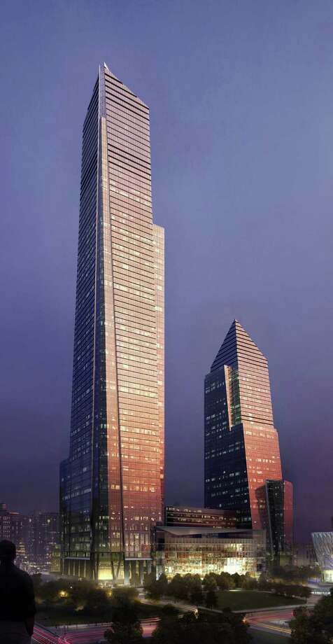 "In this artist rendering created by MIR and released by Hudson Yards, the section of the development named the ""Commercial Superblock"" is shown. The ""Commercial Superblock"" is one element of the transformation the largest undeveloped property in Manhattan from a railroad storage yard into a sleek new neighborhood of spiky high-rises and graceful parks. On Tuesday, Dec. 4, 2012, New York City Mayor Michael Bloomberg officiated the ceremonial groundbreaking for the projects first office tower, scheduled to be finished by 2015. Photo: AP / MIR via Hudson Yards"