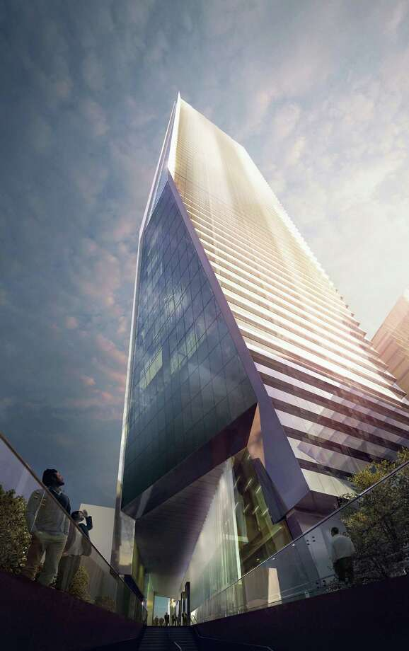 AN artist's rendering created by MIR and released by Hudson Yards, shows the base of the development's south office tower as it would be viewed from the Highline spur. With the ceremonial groundbreaking on Tuesday, Dec. 4, 2012, the transformation of the largest undeveloped property in Manhattan from a railroad storage yard into a sleek new neighborhood of spiky high-rises and graceful parks has begun. Photo: AP / MIR via Hudson Yards