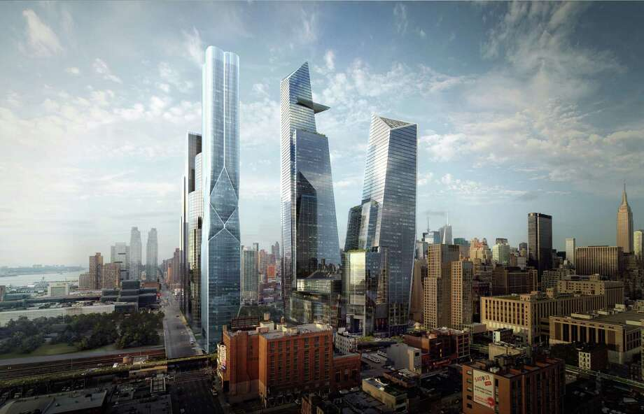 In this artist rendering created by MIR and released by Hudson Yards, shows the Hudson Yards redevelopment as it will be seen while looking northeast. With the ceremonial groundbreaking on Tuesday, Dec. 4, 2012, the transformation of the largest undeveloped property in Manhattan from a railroad storage yard into a sleek new neighborhood of spiky high-rises and graceful parks has begun. The first office tower is expected to be completed in 2015. Photo: AP / MIR via Hudson Yards