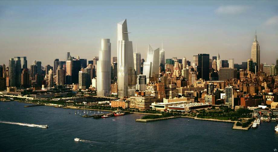 In this artist rendering created by Visualhouse and released by Hudson Yards, the Hudson Yards redevelopment as it will be seen while looking northeast while on the Hudson River is shown. With the ceremonial groundbreaking on Tuesday, Dec. 4, 2012, the transformation of the largest undeveloped property in Manhattan from a railroad storage yard into a sleek new neighborhood of spiky high-rises and graceful parks has begun. The first office tower is expected to be completed in 2015. Photo: AP / Visualhouse via Hudson Yards