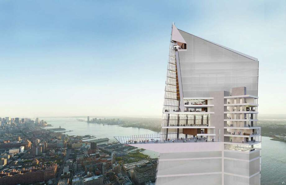 In this artist rendering created by Visualhouse and released by Hudson Yards, the Hudson Yards Observation Deck is shown. With the ceremonial groundbreaking on Tuesday, Dec. 4, 2012, the transformation of the largest undeveloped property in Manhattan from a railroad storage yard into a sleek new neighborhood of spiky high-rises and graceful parks has begun. The first office tower is expected to be completed in 2015. Photo: AP / Visualhouse via Hudson Yards