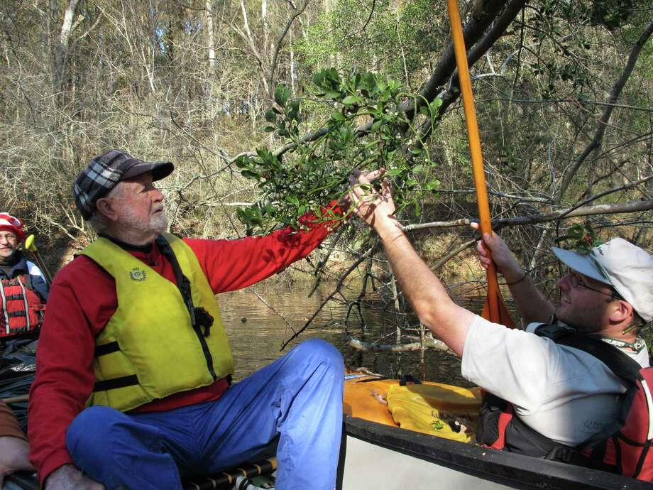 Seventh-grade science teacher Lucas Conkle hands a sprig of mistletoe to Forrest Altman on the Upper Little River near Lillington, N.C., on Saturday, Dec. 1, 2012. Altman began the Sprig Outing 30 years ago as a fundraising event for local conservationists. Photo: Allen Breed, AP / AP