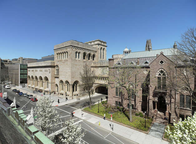 Exterior view of the Yale University Art Gallery. From left, the Louis Kahn building, Old Yale Art Gallery building and Street Hall. Photo: File Photo