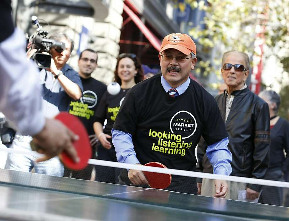 Mayor Ed Lee's recent game of table tennis sets the right tone for making Market Street a fun place. Photo: Rashad Sisemore, The Chronicle