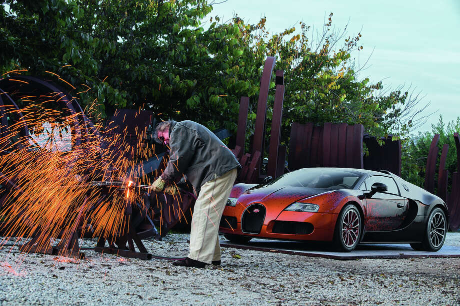 "French artist Bernar Venet has collaborated with Bugatti to create a Veyron ""art car"" which was unveiled at Art Basel in Miami Beach this week. Photo: Bugatti"