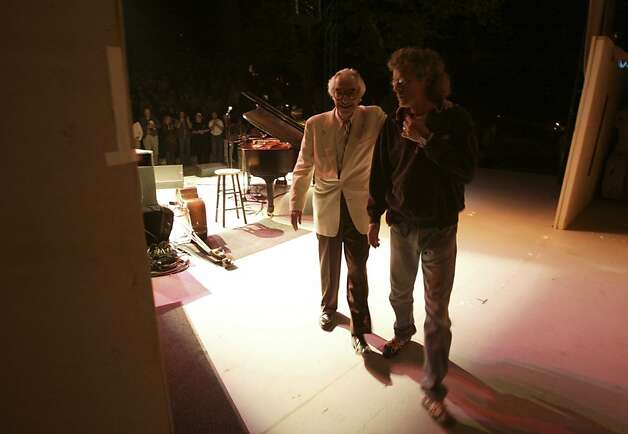 Dave Brubeck is helped offstage after his Villa Montalvo performance. In 2005 jazz legend Dave Brubeck, 85, took a two-day tour through the Central Valley, where he was raised. Photo: Kim Komenich, SFC