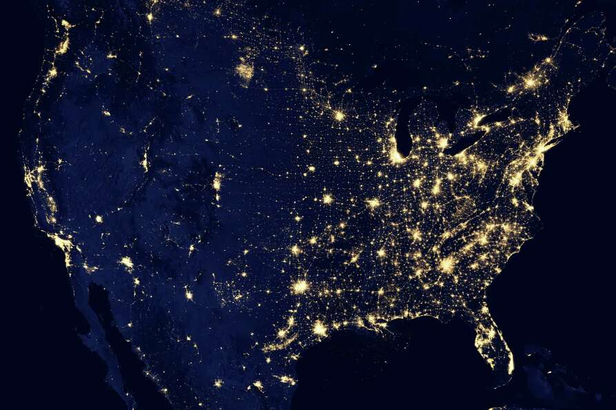 In this image provided by NASA, the United States of America is seen at night from a composite assem