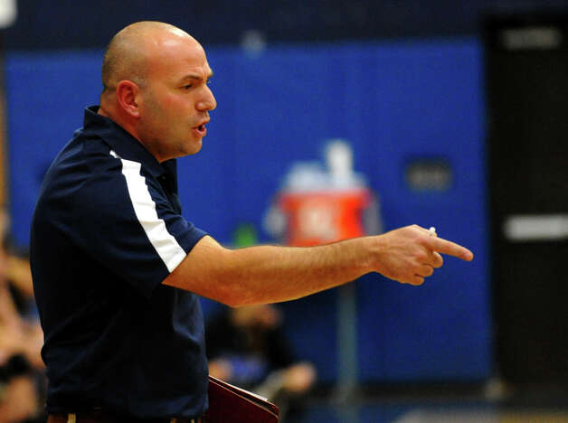 Staples Head Coach Jon Shepro, during girls volleyball action against Darien in Westport,Conn. on Tuesday October 9, 2012. Photo: Christian Abraham / Connecticut Post