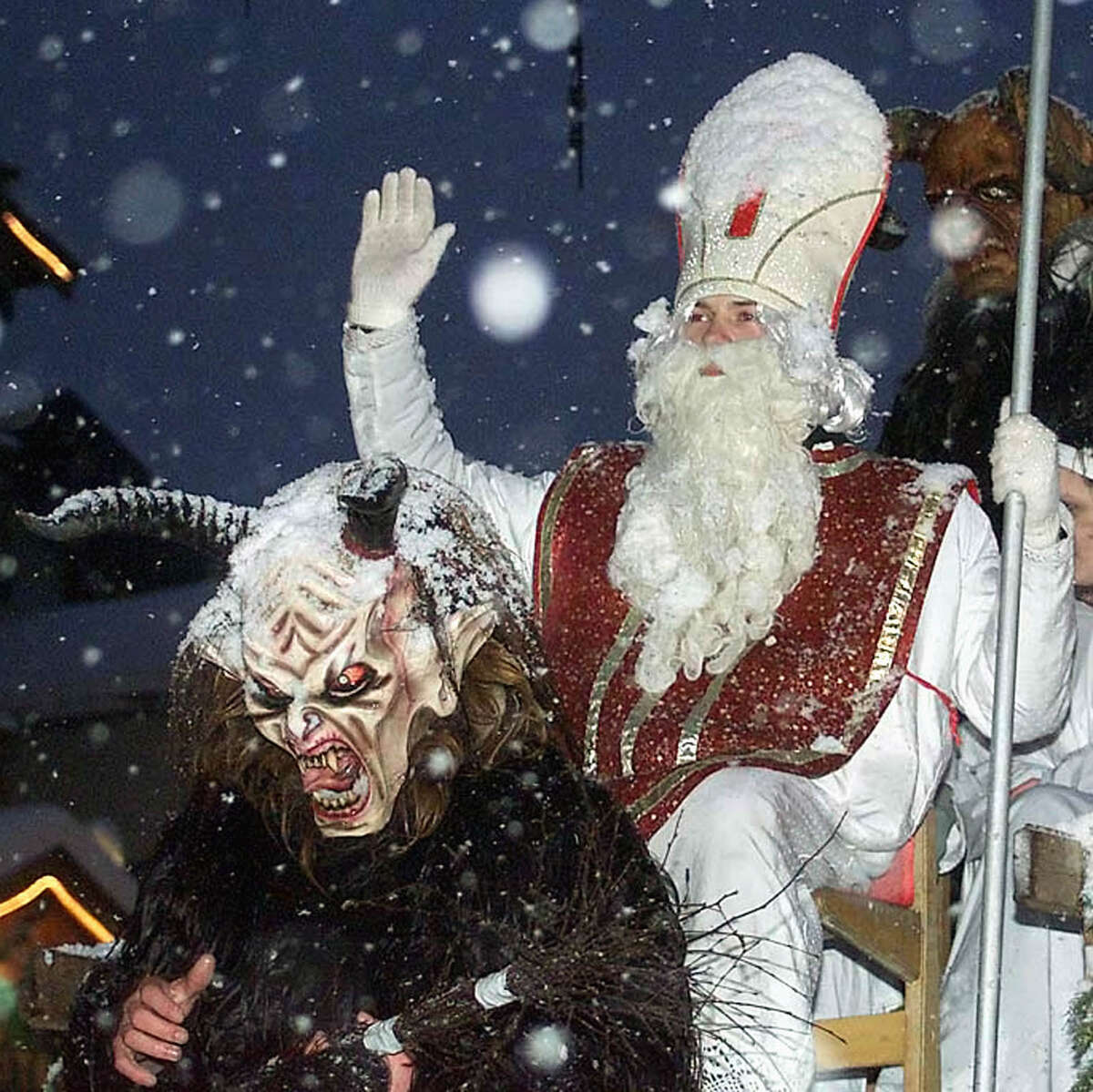 Buds In much of Northern Europe, St. Nicholas dresses in white bishop's robes and gives presents to good children on his feast day, December 6. The bad children are dealt with by his demon-like opposite, known as Krampus in Austria, Knecht Ruprecht in Germany, Belsnickel in southwest Germany, Klaubauf in Bavaria and Pere Fouettard in northern France.