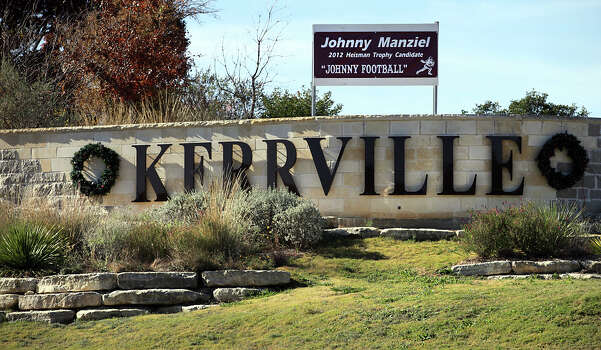 City officials have placed a banner at the entrance to Kerrville on Interstate 10 showing their support for the local boy who has made good. The Heisman ceremony is Saturday. Photo: Bob Owen, San Antonio Express-News / © 2012 San Antonio Express-News