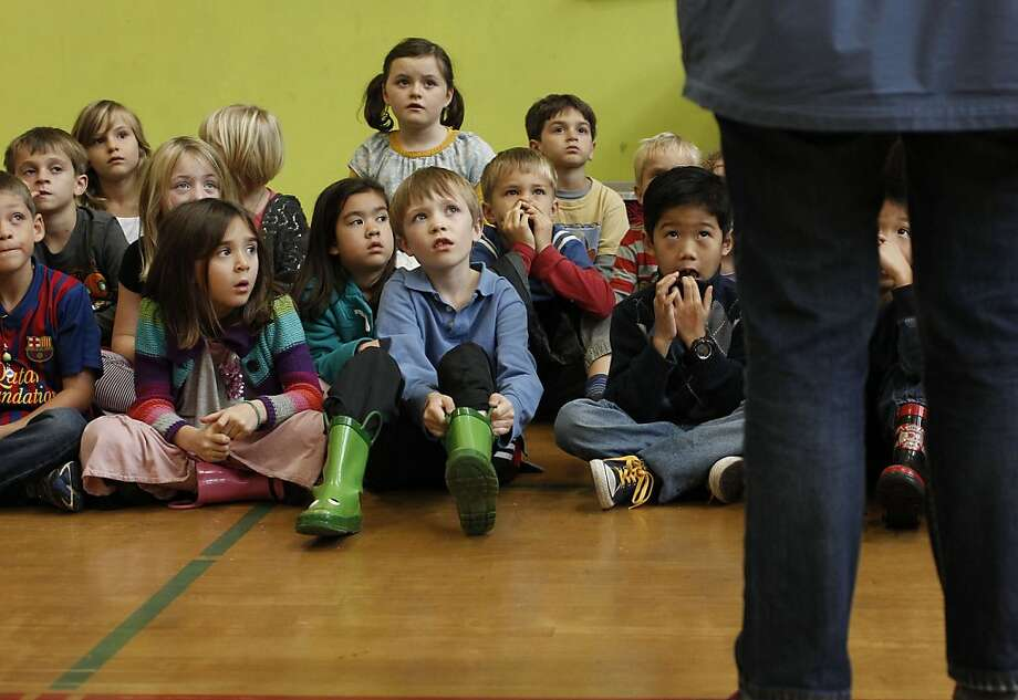 Miraloma School students listen to instructions as they prepare to participate in exercises that show them what learning is like for those with disabilities. Photo: Michael Macor, The Chronicle