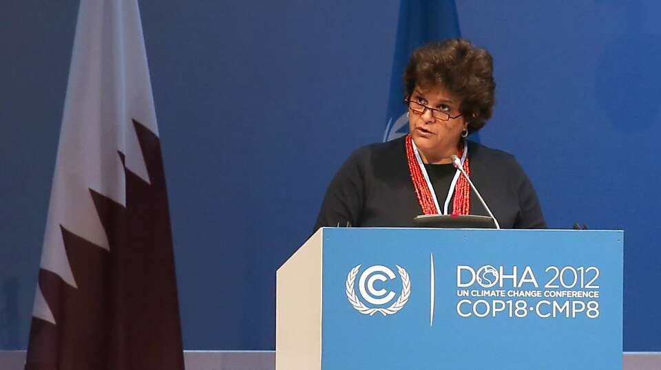 Brazil's Minister of the Environment Izabella Monica Teixeira, addresses delegates at the  UN climat