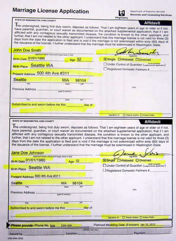 A sample King County marriage license application shown on Dec. 5, 2012. Photo: Casey McNerthney/seattlepi.com