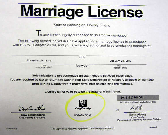 A sample King County marriage license shown on Dec. 5, 2012. Photo: Casey McNerthney/seattlepi.com