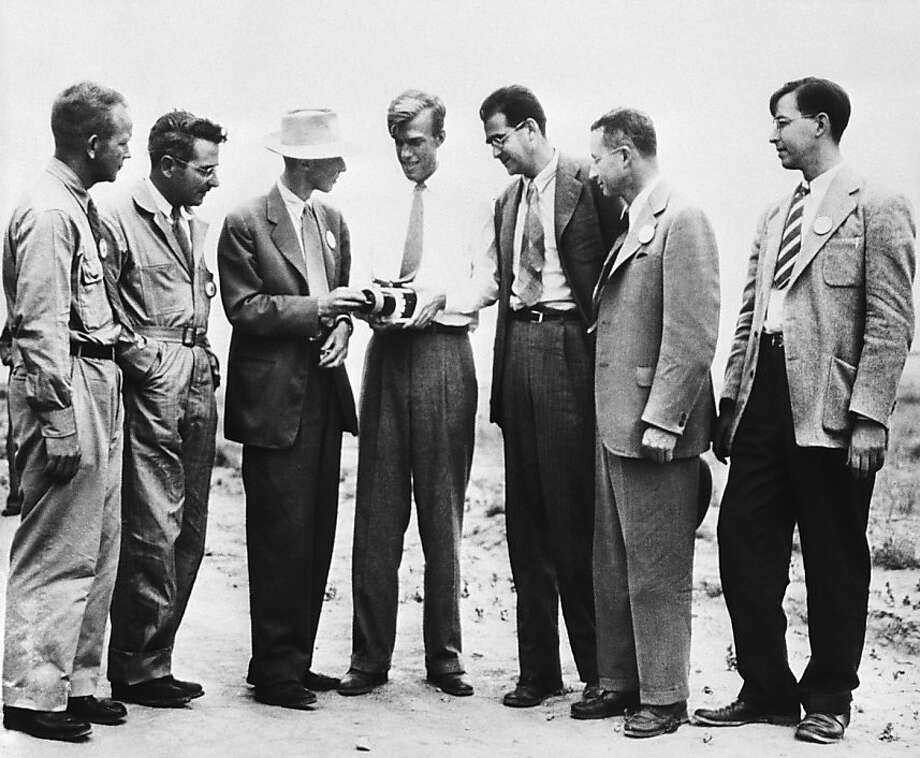 Top scientists, including J. Robert Oppenheimer (third from the left), at an atomic test site in 1945. Photo: Uncredited, Associated Press