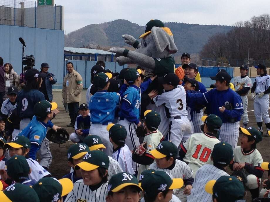 The Oakland A's started their year in Japan, visiting children devastated by the tsunami. These schoolchildren in Sendai were very excited to meet Stomper. (Susan Slusser / The Chronicle)