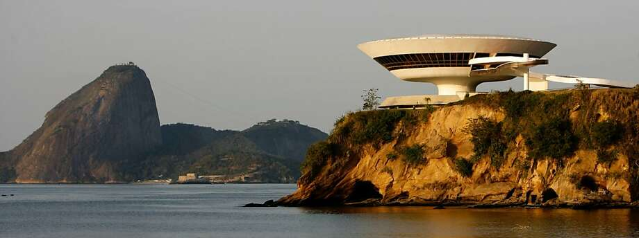 Oscar Niemeyer's Contemporary Art Museum in Niteroi, Brazil. Photo: Ricardo Moraes, AP