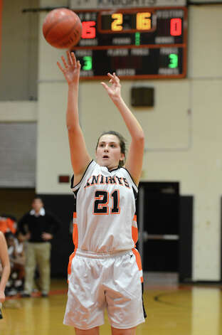 Stamford's Kelsey Santagata (21) takes a free throw against Norwalk during the girls basketball game at Stamford High School on Wednesday, Dec. 5, 2012. Photo: Amy Mortensen / Connecticut Post Freelance