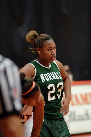 Norwalk's Shantel Butler (23) waits for Stamford to take a foul shot during the girls basketball game at Stamford High School on Wednesday, Dec. 5, 2012. Photo: Amy Mortensen / Connecticut Post Freelance