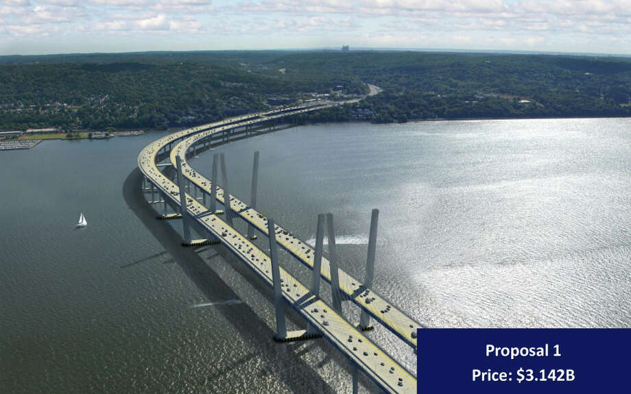 "In this artist rendering provided by the New York State Thruway Authority, ""Proposal 1,""  an artist's conception of one of three designs that will replace the Tappan Zee Bridge over the Hudson River in New York is shown. On Wednesday, Dec. 5, 2012, the Authority released three designs with each coming in more than $1 billion under the initial price tag of $5.2 billion. (AP Photo/New York State Thruway Authority) Photo: HOPD"