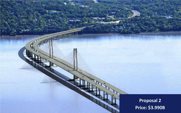 "In this artist rendering provided by the New York State Thruway Authority, ""Proposal 2,""  an artist's conception of one of three designs that will replace the Tappan Zee Bridge over the Hudson River in New York is shown. On Wednesday, Dec. 5, 2012, the Authority released three designs with each coming in more than $1 billion under the initial price tag of $5.2 billion. (AP Photo/New York State Thruway Authority) Photo: HOPD"