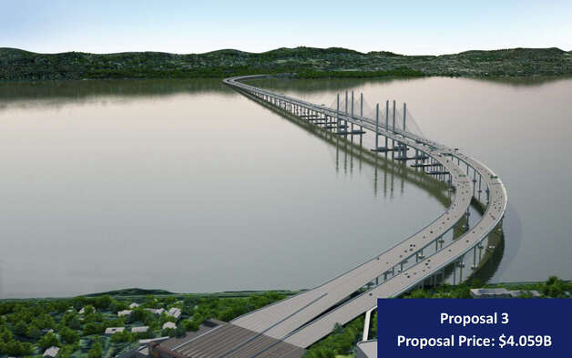"In this artist rendering provided by the New York State Thruway Authority, ""Proposal 3,""  an artist's conception of one of three designs that will replace the Tappan Zee Bridge over the Hudson River in New York is shown. On Wednesday, Dec. 5, 2012, the Authority released three designs with each coming in more than $1 billion under the initial price tag of $5.2 billion. (AP Photo/New York State Thruway Authority) Photo: HOPD"