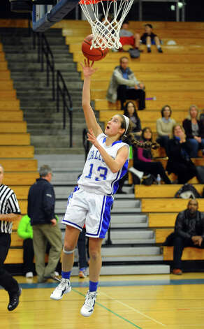 Fairfield Ludlowe's #13 Julia vonEhr lays up the ball for two points, during girls basketball action against Harding in Fairfield, Conn. on Wednesday December 5, 2012. Photo: Christian Abraham / Connecticut Post