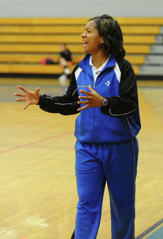 Harding's Head Coach Judith Morisset, during girls basketball action against Fairfield Ludlowe in Fairfield, Conn. on Wednesday December 5, 2012. Photo: Christian Abraham / Connecticut Post