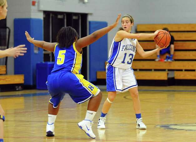 Fairfield Ludlowe's #13 Julia vonEhr looks to pass the ball, during girls basketball action against Harding in Fairfield, Conn. on Wednesday December 5, 2012. Photo: Christian Abraham / Connecticut Post