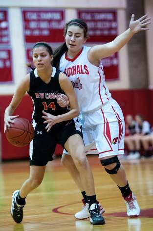 New Canaan high school vs. Greenwich high school in girls basketball game played at Greenwich high school, Greenwich, CT on Wednesday December 5th, 2012. Photo: Mark Conrad / Stamford Advocate Freelance