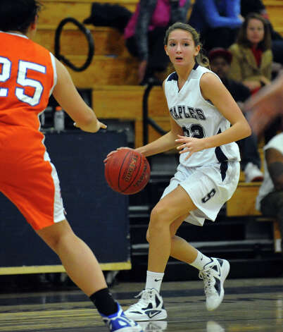 Staples' #22 Nicole Bukovsky drives the ball, during girls basketball action against Danbury in Westport, Conn. on Wednesday December 5, 2012. Photo: Christian Abraham / Connecticut Post