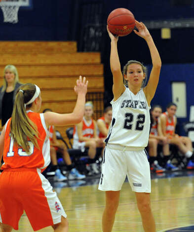 Staples' #22 Nicole Bukovsky passes the ball, during girls basketball action against Danbury in Westport, Conn. on Wednesday December 5, 2012. Photo: Christian Abraham / Connecticut Post