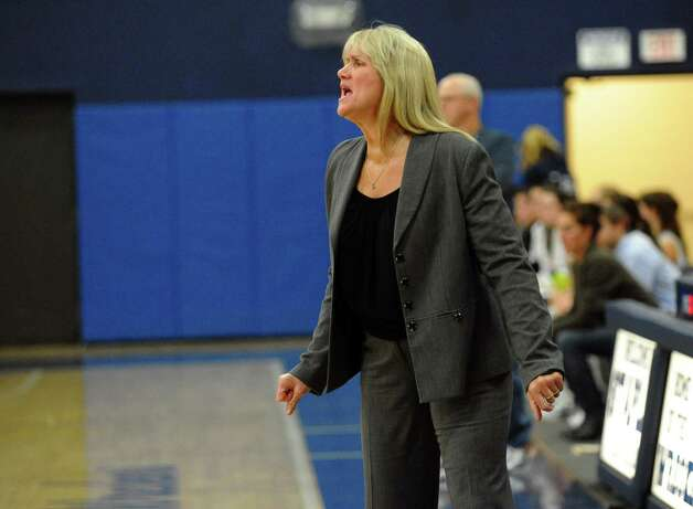 Danbury's Head Coach Jackie DiNardo, during girls basketball action against Staples in Wesport, Conn. on Wednesday December 5, 2012. Photo: Christian Abraham / Connecticut Post