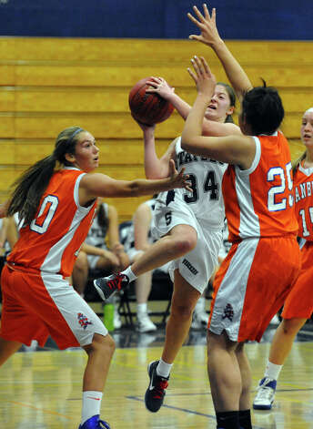 Girls basketball action between Danbury and Staples in Westport, Conn. on Wednesday December 5, 2012. Photo: Christian Abraham / Connecticut Post