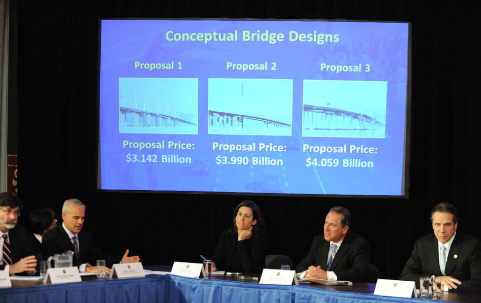 A Tappan Zee replacement bridge proposal and Super Storm Sandy were topics at a cabinet meeting with Governor Andrew Cuomo at the Capitol on Wednesday Dec. 5, 2012 in Albany, N.Y. (Lori Van Buren / Times Union)