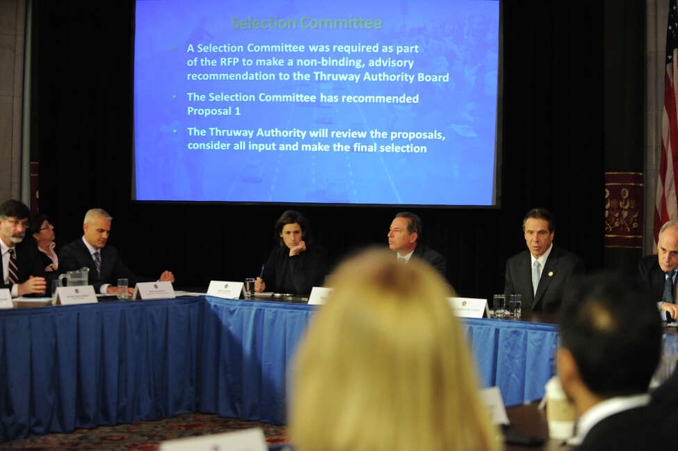 Governor Andrew Cuomo speaks about a Tappan Zee replacement bridge proposal and Super Storm Sandy at a cabinet meeting at the Capitol on Wednesday Dec. 5, 2012 in Albany, N.Y. (Lori Van Buren / Times Union)