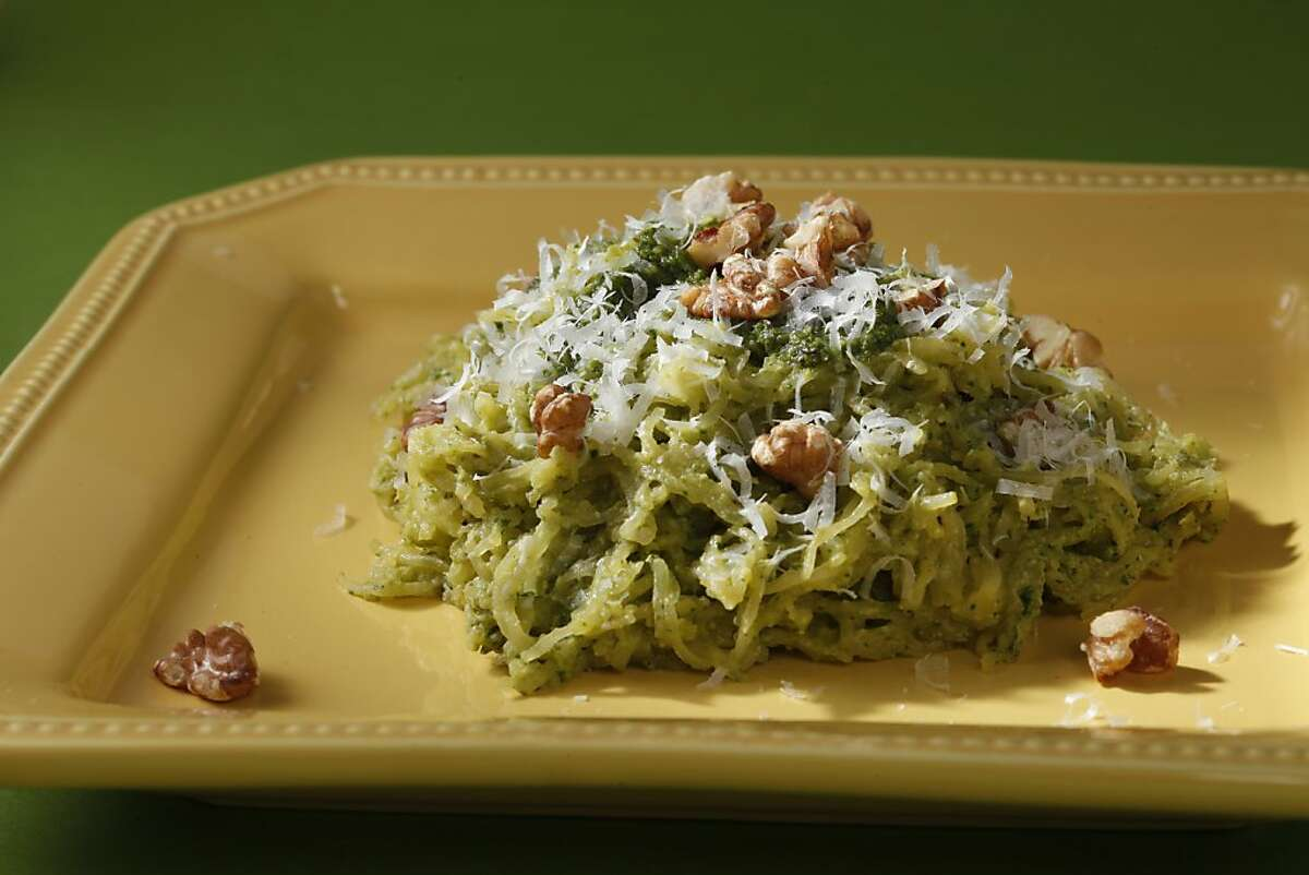 Spaghetti Squash with Walnut Sage Pesto as seen in San Francisco, California, on Wednesday, December 5, 2012. Food styled by Simon F. F. Young.