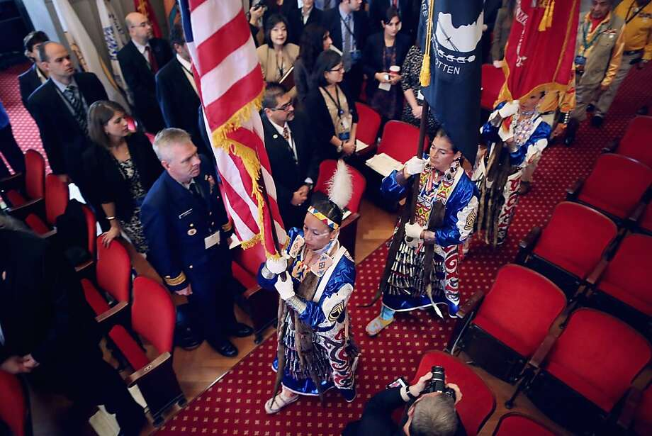 "Native American Women Warriors members and U.S. military veterans (L-R) Mitchelene Big Man of Lodge Grass, Montana; Julia Kelly of Billings, Montana; and Sarah Baker of Camp Lejeune, North Carolina  present the colors during the opening of the White House Tribal Nations Conference at the Department of Interior December 5, 2012 in Washington, DC. President Barack Obama and cabinet secretaries from his administration are scheduled to address the conference, which included breakout sessions on topics like ""Protecting Our Communities: Law Enforcement and Disaster Relief,"" ""Building Healthy Communities, Excellence in Education and Native American Youth,"" and other subjects. Photo: Chip Somodevilla, Getty Images"