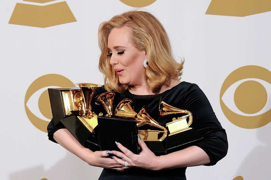 Adele was the big winner of last year's Grammys. This year, the new mom has one nomination, for Best Solo Pop Performance for a live performance of Set Fire to the Rain.  (Photo by Kevork Djansezian/Getty Images) Photo: Kevork Djansezian, Getty Images / 2012 Getty Images