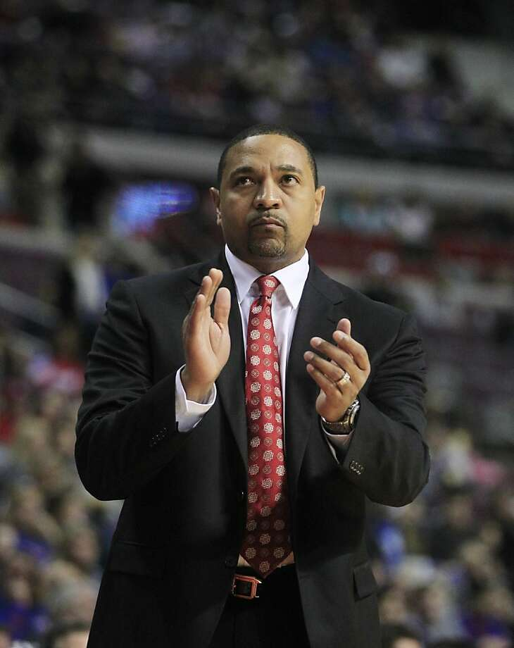 Golden State Warriors head coach Mark Jackson is seen on the sidelines during the first quarter of an NBA basketball game against the Detroit Pistons at the Palace of Auburn Hills, Mich., Wednesday, Dec. 5, 2012. (AP Photo/Carlos Osorio) Photo: Carlos Osorio, Associated Press