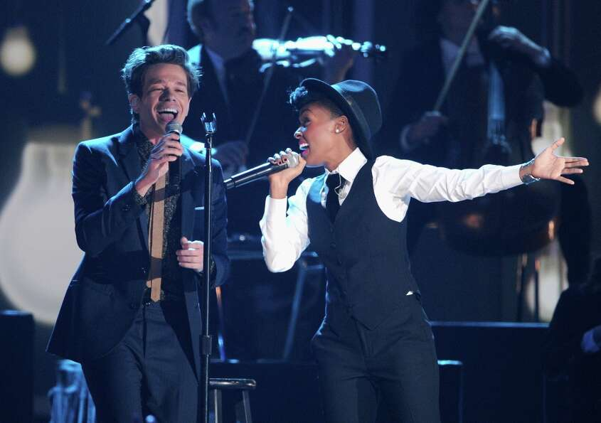 Nate Ruess of Fun. and Janelle Monae perform onstage at The GRAMMY Nominations Concert Live!! held a